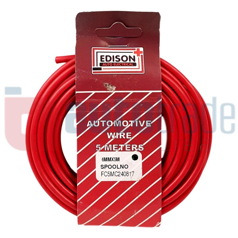 AUTO CABLE 6.0mm (5mtr-RED) on